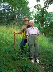 Clarke and Florence Chambers on the steep prairie on their property above the Kinnickinnic River. Taken on the occasion of the first Kinnickinnic River Land Trust conservation easement donation.